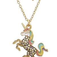 Unicorn Crystal Pendant Necklace, Gold