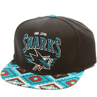 The San Jose Sharks Snapback Cap in Black & Teal