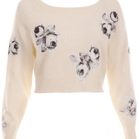 ROMWE | Flower Appliqued White Jumper, The Latest Street Fashion