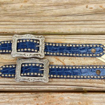 "Navy Gator Belt Style Spur Strap w/1.25"" Western Style Buckles"