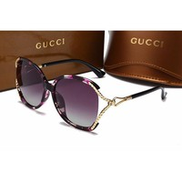 Gucci Fashion Women Casual Sun Shades Eyeglasses Glasses Sunglasses Purple Leopard G