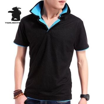 ONETOW Designer New Men's Polo Shirts Short Sleeve Fashion Double Layer Collar Solid Cotton Casual Polo Shirt Men Tees Plus Size 3XL BE