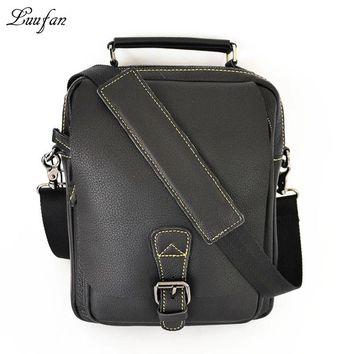 Men's genuine shoulder bag cute cow leather tote casual cowhide messenger bag leather handbag convenient for go out
