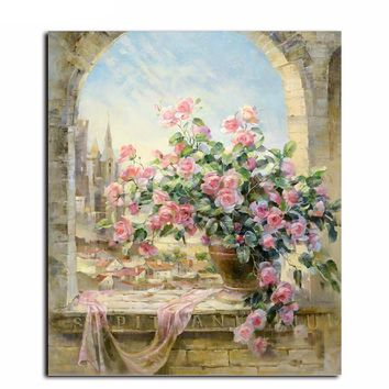 """DIY Painting by Numbers Canvas Painting Set - """"Pink Rose Ledge"""""""