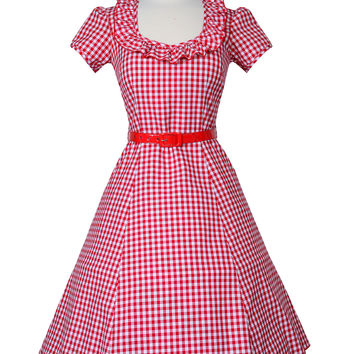 Ebury Skater Pin Up Dress in Red Gingham XS (LAST ONE)