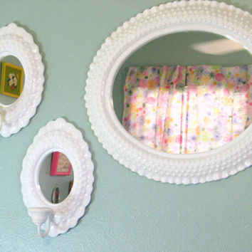 Wall Mirror Sconce Set White Hobnail Burwood Shabby Chic