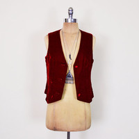 Vintage 70s Red Velvet Vest Jacket Top Skinny Fit Vest Fitted Vest 70s Vest 70s Hippie Vest Hippy Vest Gypsy Vest Rocker Vest Women S Small