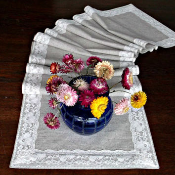 Extra long table centerpiece Narrow linen and lace table runner Light grey with cream Wedding dining table cover for christmas 276 x 33 cm