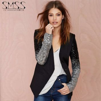Jacket Blazer Coat W/ Sequin Sleves