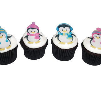 Kids Cakes - 12 Edible Penguins - Edible Paper, Cupcake Toppers, Cake Supply, Christmas Cake, Christmas Party