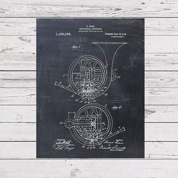 French Horn Patent Print Patent Art Print Patent Poster