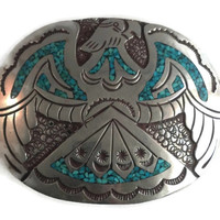 Silver Eagle Buckle - Signed Native American Belt Buckle, Turquoise Inlay, Wonderful Vintage Piece