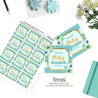 Printable Baby Shower Favor Tags, Mint Baby Shower Tags, Floral Baby Shower, Mint Favor Gift Tags, Printable Favor Tags, Mint Stripes