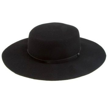 Black Wool Wide Brim Hat with Leather Band