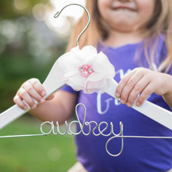 Flower Girl Hanger, Wedding Hanger, Bride Hanger, Custom Name Hanger, Flower Girl Gift, Childrens Hanger, Kid Hanger