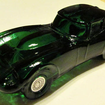 Vintage Avon Green Glass Jaguar Car Decanter, EMPTY