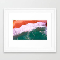 Aerial beach surf ocean art, nautical Ocean, orange sand beach, Ocean Wall Art, Ocean Print, Wave Art Print, Wave Wall Art, Ocean Poster