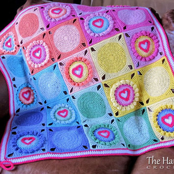 CROCHET PATTERN - Follow Your Heart - a heart afghan pattern, crochet blanket pattern, heart blanket - Instant PDF Download