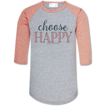 Couture Lightheart Choose Happy Raglan Long Sleeve T-Shirt