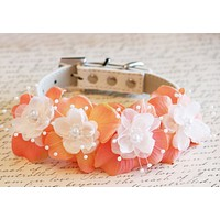 Peach Floral Dog Collar, Pet wedding accessory, Pearl and Rhinestone, Dog Lovers