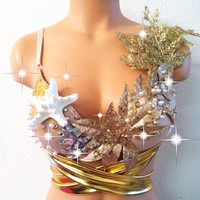 Golden Mermaid Rave Bra