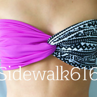 Purple and Tribal Bandeau Top Spandex Bandeau Bikini (SKINNY BACK)