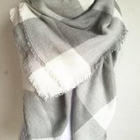 Gray Plaid Blanket Scarf