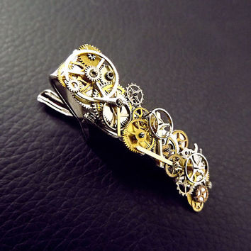Steampunk tie clip, mens steampunk, steampunk tie pin, tie bar, unisex tie clip, watch gear tie clip, steampunk accessories, OOAK