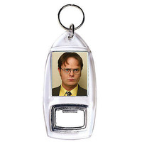 The Office Dwight Schrute clear bottle opener keychain