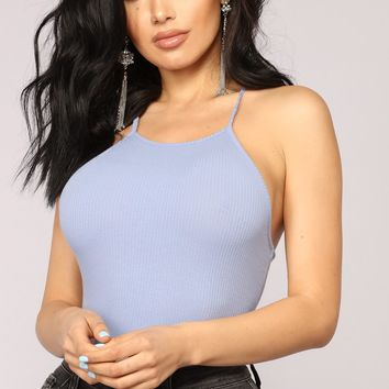 Say Less Halter Bodysuit - Chambray