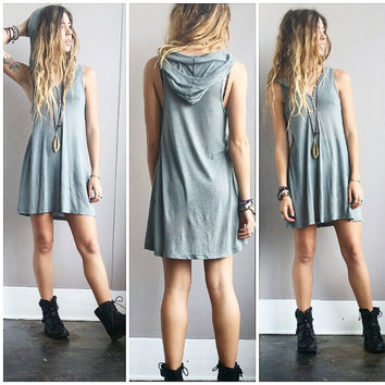 An Adorable Olive Hoodie Dress