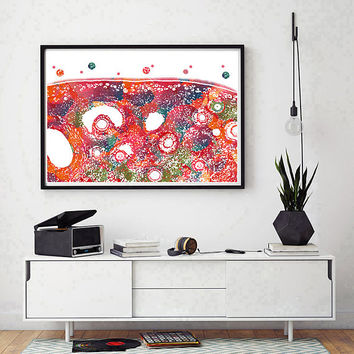 Ovary Watercolor print histology poster ovary microscopic cross section anatomy art female reproductive system print medical art science art