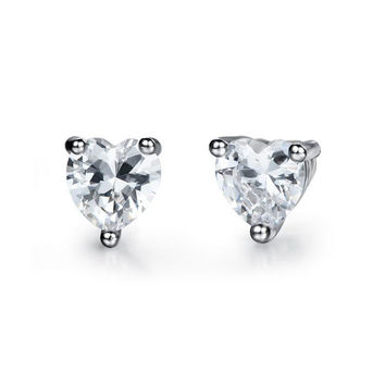 Classic Heart Diamond Stud Earrings