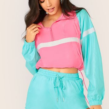 Colorblock Hooded Windbreaker And Shorts Set