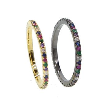 2018 gold black multi color eternity band delicate rainbow cz cute girl women colorful beautiful full cz stack skinny ring