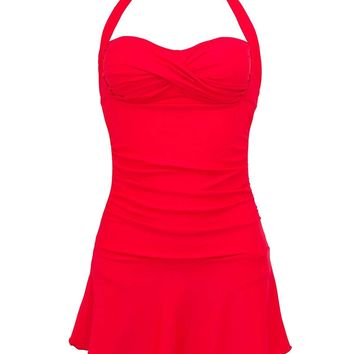 Lorasea Women Halter Bandeau One Piece Swimsuit Ruched Skirted Swimdress Bathing Suits