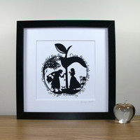 Square Snow White's Apple Papercut Print • Fairytale Wall Art • Paper Cut Quote