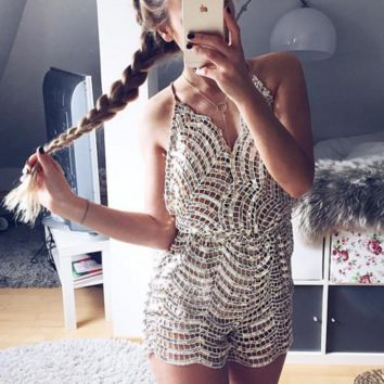 hot shining sequins deep v straps romper playsuit jumpsuit