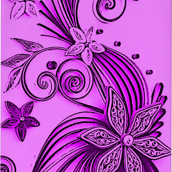 Violet, purple floral ornament, flowers and stars pattern phone case