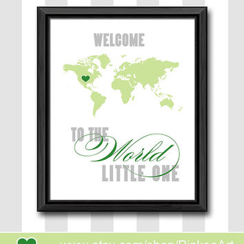 grey and green baby boys room art welcome to the world baby gift custom boys room decor baby nursery decor boy nursery ideas nursery poster