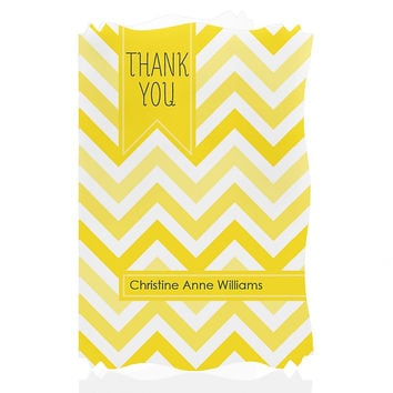 Chevron Yellow - Personalized Bridal Shower Thank You Cards