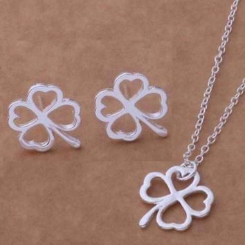 Four Leaf Clover Silhouette Silver Necklace and Earrings Set
