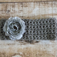 Ready To Ship Ear Warmer Headband Medium Gray Grey Teen Women's Accessories Ranunculus Flower