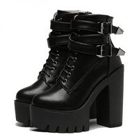 Platform Buckle Leather Booties