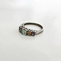 Sparkling Sterling Silver Ring with 5 Multi-Colored Faceted Square Cut Stones, Citrine, Peridot, Garnet, Amethyst and Blue Topaz - Size 10