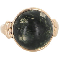 Antique Victorian Moss Agate 14 Karat Rose Gold Cocktail Ring Vintage Fine Jewelry