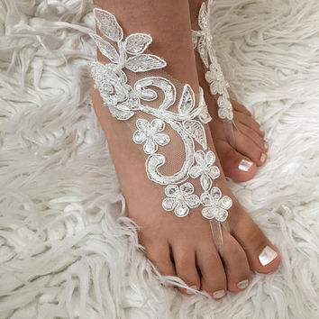 Ivory or White Flower Girl Barefoot Sandals Kids Shoes, Beach wedding,  lace sandals  Bridesmaid sandals, wedding barefoot