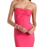 Bow-Topped Strapless Bodycon Dress by Charlotte Russe - Hot Pink