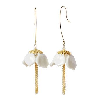 White Beads Round Drop Earring