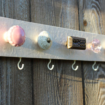 Jewelry organizer, 5 knob necklace holder, wall decor, pink and bronze